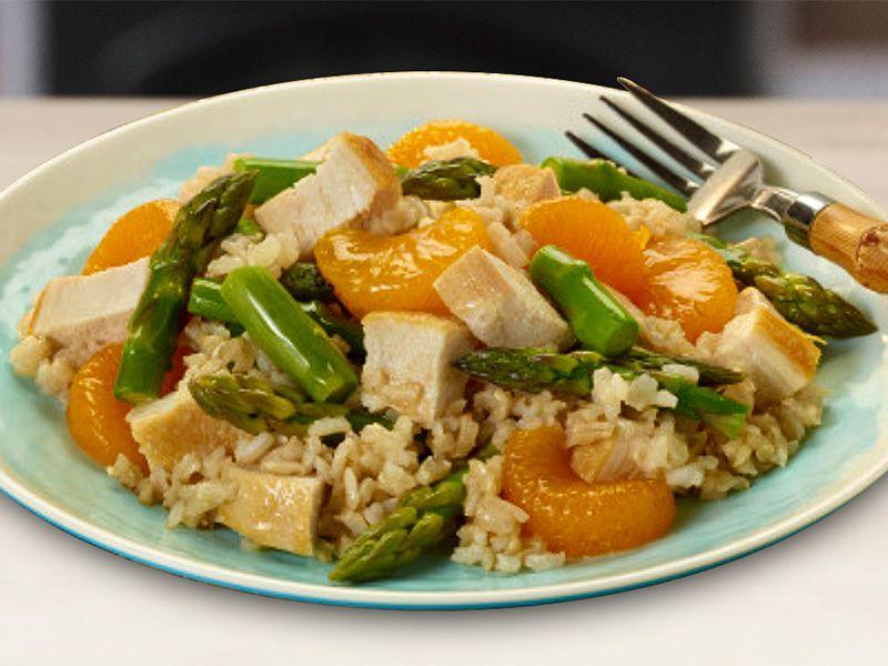 Asparagus, Mandarin Orange, Chicken and Rice