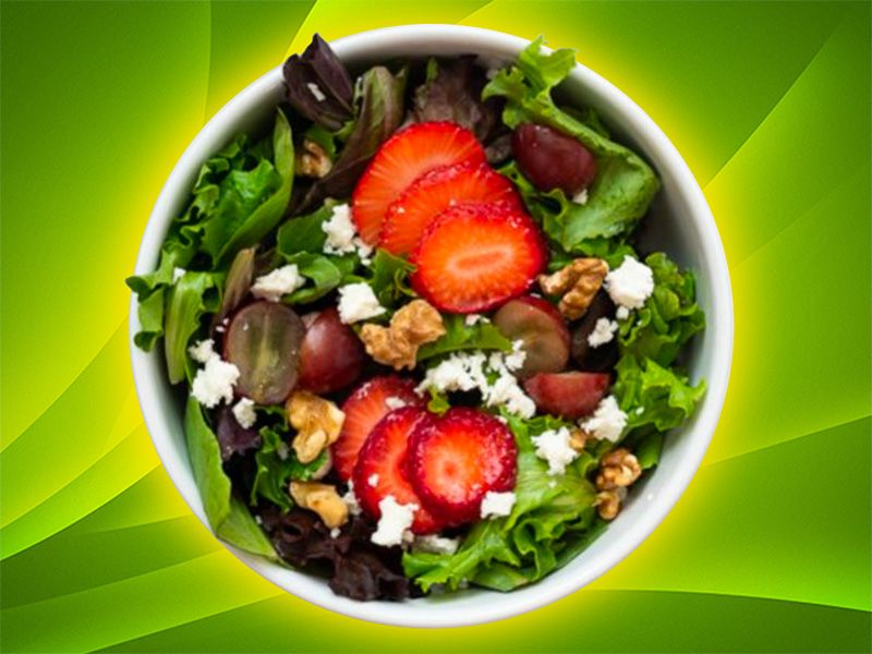Strawberry Salad with Grapes, Feta, and Walnuts